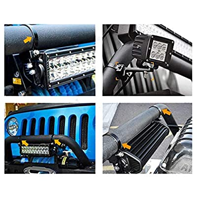 Sammanlight 1.75'' Tube Clamps Mounting Brackets Adjustable Roll Cage Bull Bar Clip Holder Kit Universal LED Light Bar Mounts for Offroad Truck ATV SUV Jeep, 2pcs: Automotive