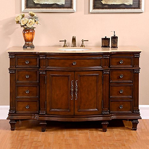 Brass Walnut Vanity - Silkroad Exclusive HYP-0277-T-UWC-60 Gorgeous Travertine Ceramic Top Single Sink Bathroom Vanity with Cabinet, 60