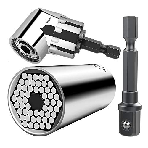 CIGOTU Universal Socket, 7mm-19mm Multifunctional Cordless Ratchet Adapter Socket Wrench Set, Impact Grade Driver Sockets Adapter Extension Set, Screwdriver Set Hex Bit + 105 Degree Right Angle Drill Cordless Hex Hex Wrench
