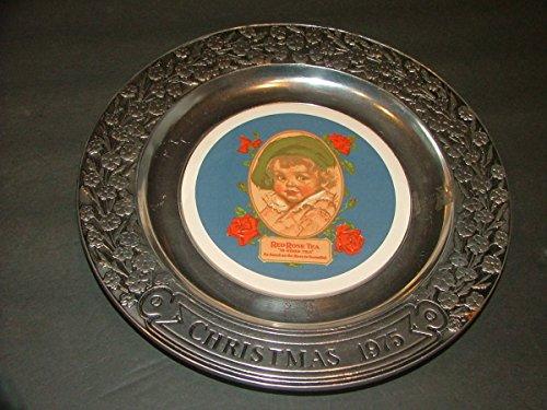 Fenton Fenton Christmas Plate (Red Rose Tea Girl On Tile on Silver Plate Flower Design Christmas 1975- Wilton)