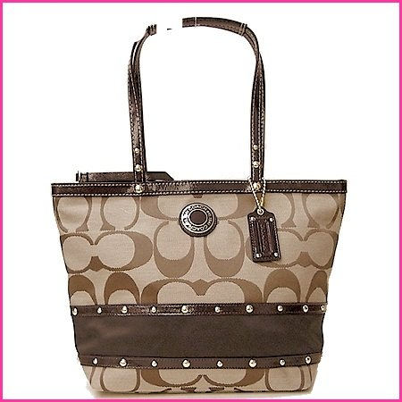 COACH-Studded-Sateen-Striped-Tote-KhakiMahogany