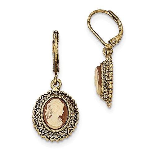 Cameo Gold Tone Earrings - Jewels By Lux Gold-tone Acrylic Cameo Filigree Leverback Earrings