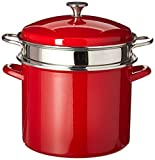 Cuisinart EOS126-28RSCP 3-pc. 12 Qt. Stockpot/Steaming Set W/Self-Draining Clip - Red