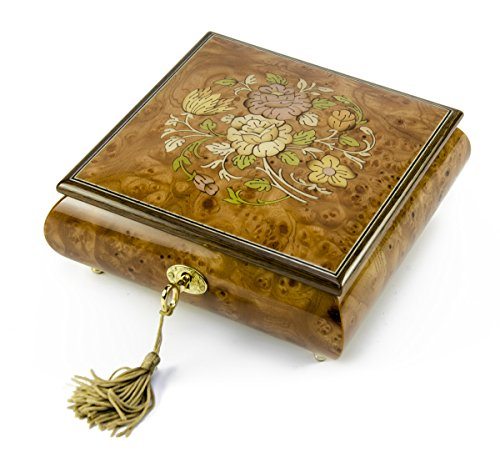 (Handcrafted 18 Note Floral Inlay Music Box with Lock and Key - Over 400 Song Choices - Yellow Ribbon Swiss)