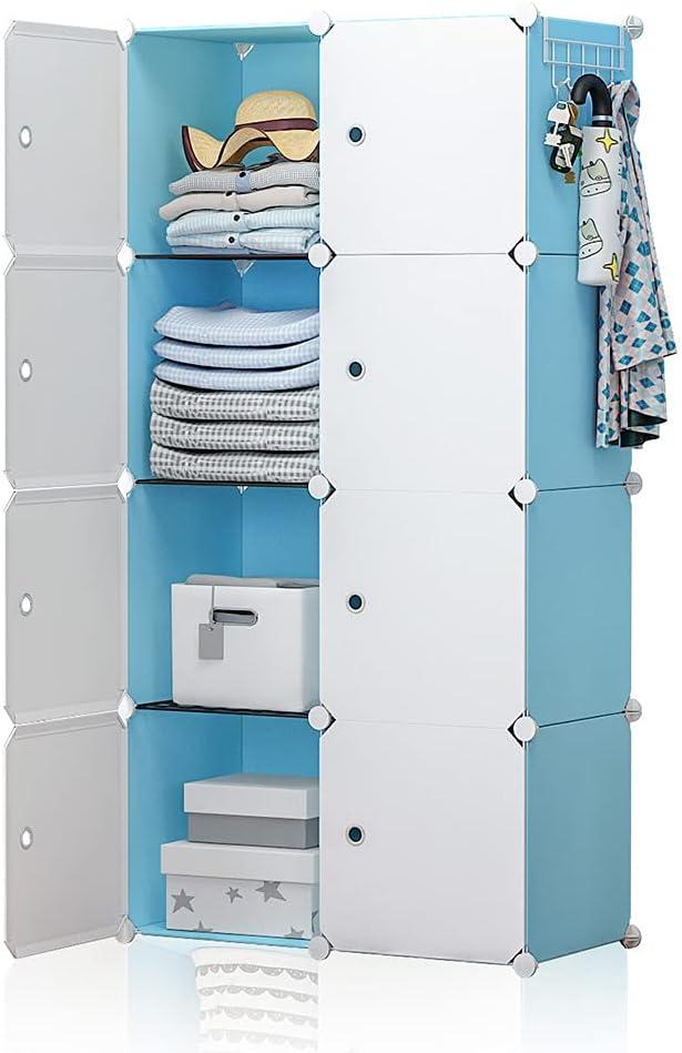 YOZO Portable Closet Armoire Wardrobe Pantry Cabinet Organizer Cube Storage Cubby Shelving Chest of Drawer Unit Multifunction Toy Bookshelf DIY Furniture, Blue, 8 Cubes