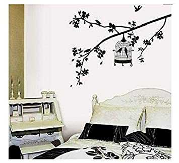 Birdcage Hanging On Tree Branch Wall Decal Removable Black Tree Home  Bedroom Wall Art Sticker Peelu0026stick