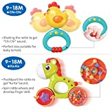 GILOBABY Baby Dinosaur Rattle Teether, Shaker, Roll Rattle, Early Educational Toys for 3 6 9 12 18 Month Baby Infant Toddler, Newborn