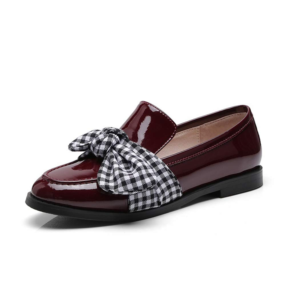 Wien Red T-JULY Flat shoes Women Loafers Genuine Leather Butterfly-Knot Decoration Loafers Women's Loafers