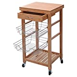 Bamboo Rolling Kitchen Trolley Cart Island Storage Shelf w/ Drawer Baskets New