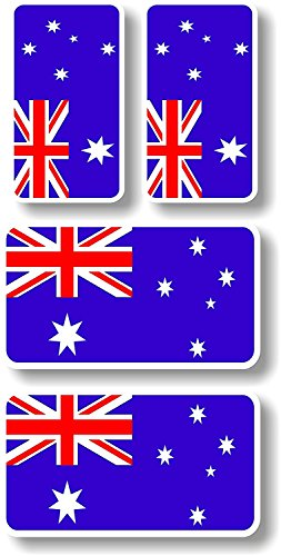 Vinyl sticker/decal Extra small 45mm & 35mm Australia flags - group of 4 Australia Flag Sticker