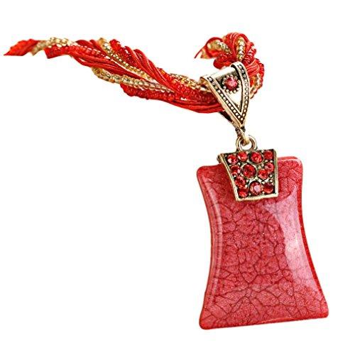 Clearance! Bohemian Necklace,Leewos Women Fashion Rhinestone Geometric Type Gem Pendant Statement Chains (Red)