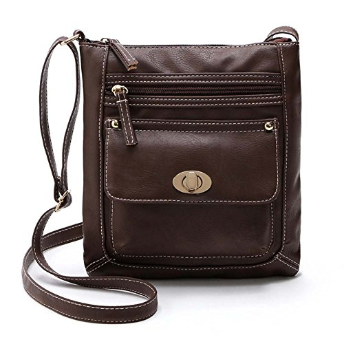 Marron Women Bag Hrph Foncé Bags Shoulder Vintage Leather Fashion Handbags PU Messenger 7qnrwqAdvx