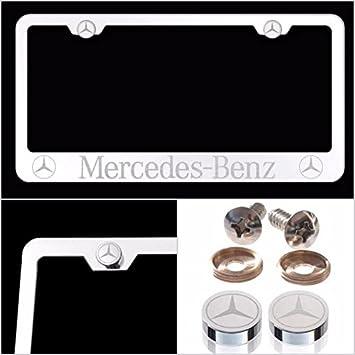 Fit Mercedes-Benz grabada con láser licencia Plate Frame Hecho de grado Industrial espejo acabado cromado w/tapas de acero inoxidable y accesorios: ...