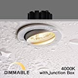 Obsess 3-inch IP54 Waterproof Shower Light with 8W COB LED Downlight, Damp Location Use, Shower Room Light, Shower Room Downlights Ceiling Light, White, Aluminium, Dimmable, Neutral White 4000K
