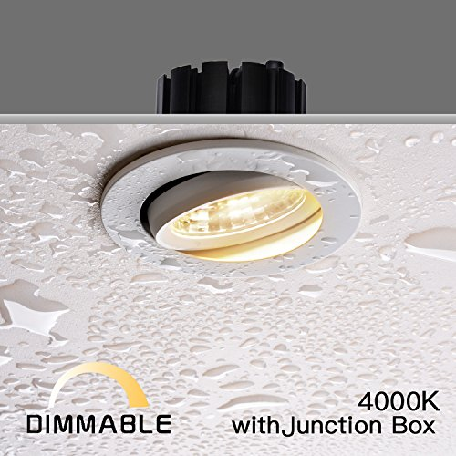 OBSESS 3-Inch IP54 Waterproof Shower Light with 8W LED COB Downlight, Damp Location Use, Shower Room Light, Shower Room Downlights Ceiling light, White, Aluminium, Dimmable, Neutral White 4000K (Shower Bathroom Lighting)