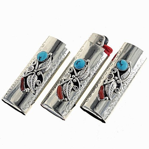 Navajo Silver Lighter Case Sleeping Beauty Turquoise Coral 0005