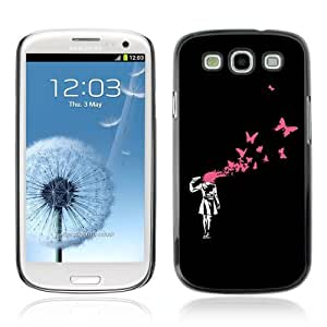 Lmf DIY phone case [Banksy Graphiti Art Gril & Butterflies] Samsung Galaxy S3 CaseLmf DIY phone case