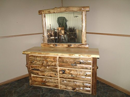 Rustic Aspen Log MIRROR FRAME ONLY - DRESSER and MIRROR NOT (Log Mirror Frame)