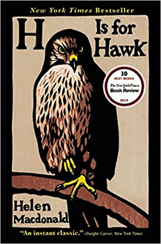 cover of H Is for Hawk showing an illustration of a goshawk