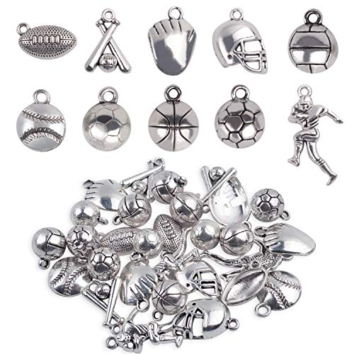 Ball Games Sports Charms, 30 Pieces Mixed Alloy Sport Theme Baseball Football Basketball Craft Charms Pendants Jewelry Findings Making Accessory for DIY Necklace Bracelet Earring - 10 Styles]()