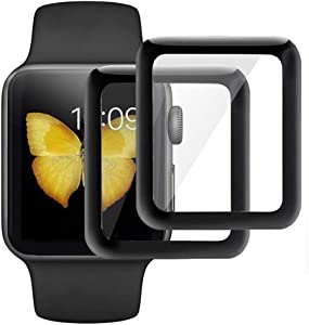 GVTECH Screen Protector for Apple Watch 40 mm, Full Coverage Tempered Glass Screen Protector [2.5D Round Edge][9H Hardness][Crystal Clear][Scratch Resist] forApple Watch 40 mm(2 Pack, Black)