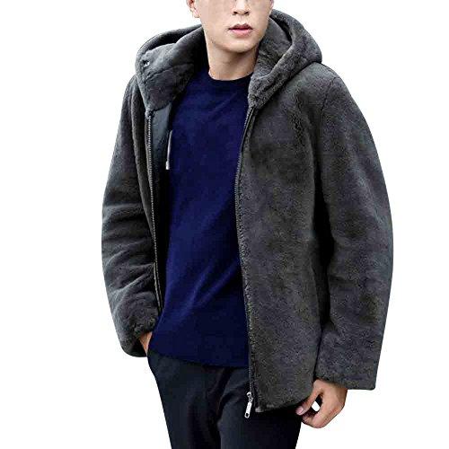 Fur Men Hooded Coat Male Fashion Gray Winter Coats Tomatoa Men's Winter Faux Fur Zipper Warm Jacket Coat BXxqBv6wp