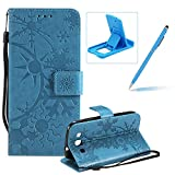 Strap Leather Case for Samsung Galaxy S3,Wallet Leather Case for Samsung Galaxy S3,Herzzer Premium Stylish Creative Blue Art Painted Magnetic Bookstyle Flip Portable Stand Case with Soft Rubber Card Holder Slots