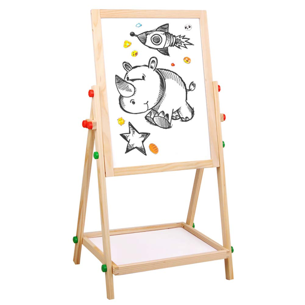 Wooden Liftable Easel Kid's Double-Sided Magnetic Drawing Stand Paiting Holder Graffiti Rack ZJM