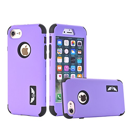 iPhone 6 Case, iPhone 6S Case, SUMOON Three Layers Hybrid High Impact Resistant Hard PC Back Cover Anti-Scratch Anti-Fingerprint Angel Design for Apple iPhone 6/6S 4.7 Inch (Purple ()