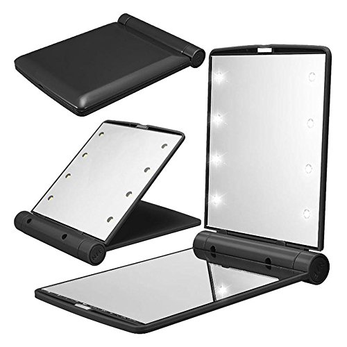 Pocket Makeup Mirror With LED Light (Black) - 6