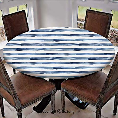 Elastic Edged Polyester Fitted Table Cover,Watercolor Style Paintbrush Stripes Sea Marine Life Symbol Lines Image,Fits up 45