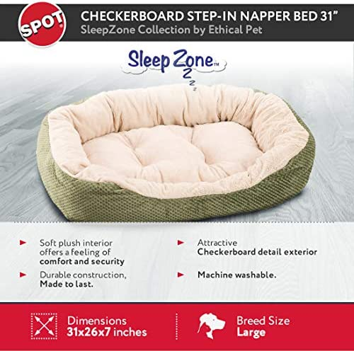Amazon Com Ethical Pets Sleep Zone Checkerboard Napper Pet Bed 31 Sage Pet Supplies