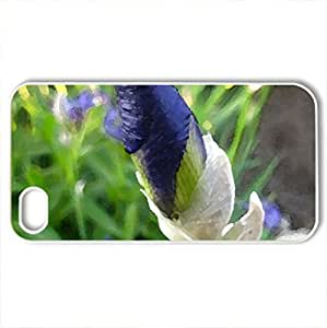 Blue - Case Cover for iPhone 4 and 4s (Flowers Series, Watercolor style, White)
