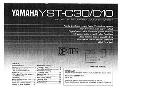 Yamaha YST-C10 Amplifier Owners Instruction Manual (C10 Amplifier)
