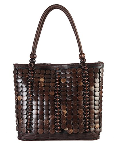 Diophy Colorful Woven Large Tote Accented with Beads Décor Womens Purse Handbag YW-3248 (Bead Accented Handbag)