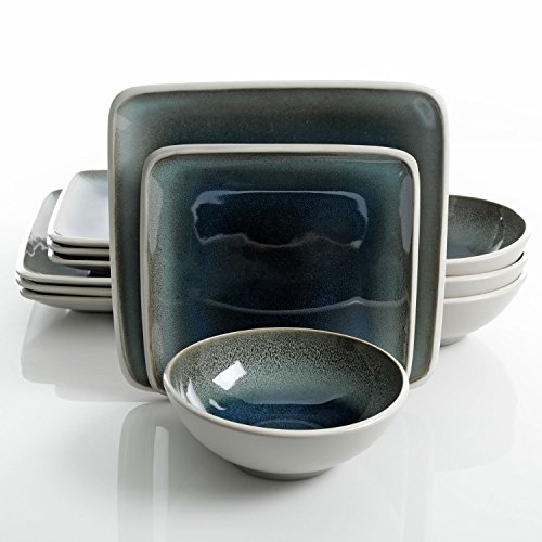Gibson Elite Namastay 12-Piece Dinnerware Set Service for 4, Blue Reactive Glaze (Dinnerware Sets Grey Square)