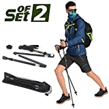 Trekking Poles 2 PCS,Folding Collapsible Alpenstocks Adjustable and Ultralight Hiking Sticks - Perfect for Outdoor Walking, Backpacking and Snowshoeing