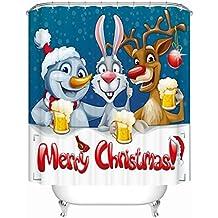 Waterproof Anti-mildew Merry Christmas Polyester Fabric Shower Curtain