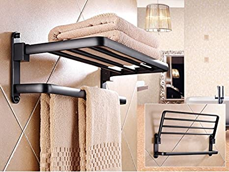 Sursy Espacio de aluminio negro de toallero, estante, estante, estante de la toalla de baño del hotel, hardware, baño colgante: Amazon.es: Hogar