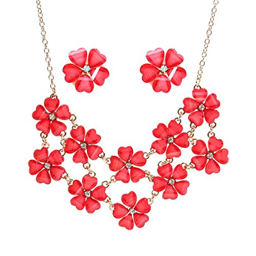 VK Accessories Cute Floral Flower Necklack Earrings Set Womens Girls Children Sweater Accessories Fashion Necklace Red