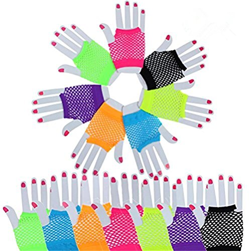 Haodeba 14 Pairs Stretchy Fingerless Fishnet Gloves 80's Custome Accessories for Parties, 7 Colors