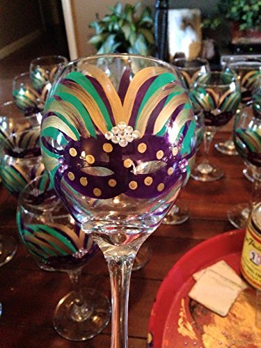 (Hand Painted Mardi Gras Wine Glass)