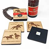Horse rider Coaster gift set .Set of 4 felt backed coasters with horse and riding pictures and sayings.For horse riders and equestrian fans.Horse riding and saddles.Riding arena.