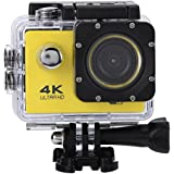 Acouto Wifi Sports Action Camera,2 Inch 4k 12MP 140°Angle with Waterproof Housing Case,Camera Frame,USB Cable,US Plug Adapter and more Accessories Kits (Yellow)