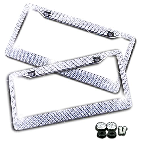 Zento Deals 2 Pack of Sparkling Rhinestone Glitter Mixed Crystal Bling Stainless Steel License Plate Frame