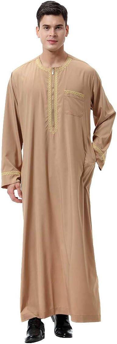 Camiseta Manga Larga, Algodón y Lino para Hombres, diseño Bordado, túnica árabe de Manga Larga con Cierre_Internet(marrón S-3XL): Amazon.es: Ropa y accesorios