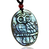 AA Grade Natural Blue Green Flashy Labradorite Owl Statue Amulet Pendant Necklaces 20''