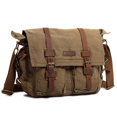 Kattee Retro Unisex Canvas Leather Messenger Sh...