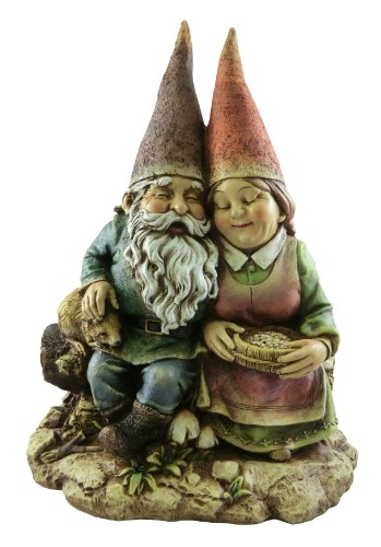 Napco 12 Inch Sitting Gnome Couple