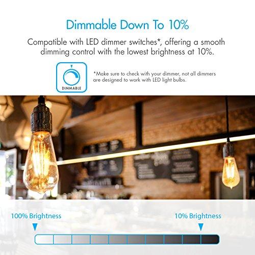 Tenergy Dimmable Edison Bulbs 4W LED Filament Bulbs (40 Watt Equivalent), Soft White (2700K), ST64 Bulbs, E26 Medium Standard Base Decorative Light Bulbs for Ceiling Light Fixtures (Pack of 6) by Tenergy (Image #3)